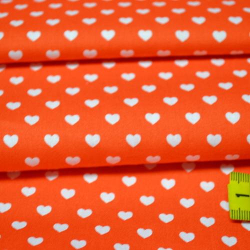 Coton coeur blanc fond orange (0.75€/10cm)