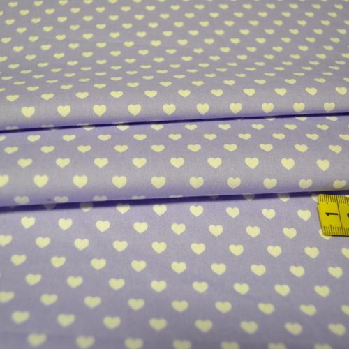 Coton coeur blanc fond lilas