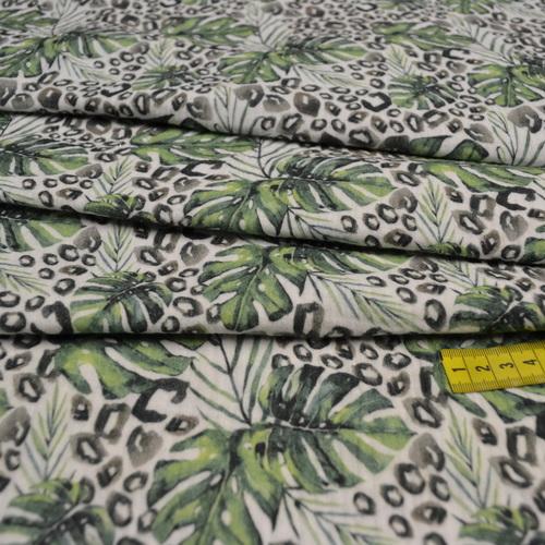 Double gaze de coton feuillage tropical (1.2€/10cm)