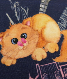 Jersey de coton imprimé digital chats en ville Stenzo (1.6€/10cm)