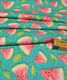 Jersey de coton imprimé digital pastèque Stenzo (1.6€/10cm)