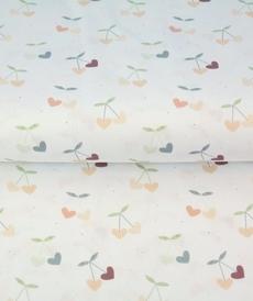 Tissu coton imprimé cerises en coeur Stenzo (0.9€/10cm)