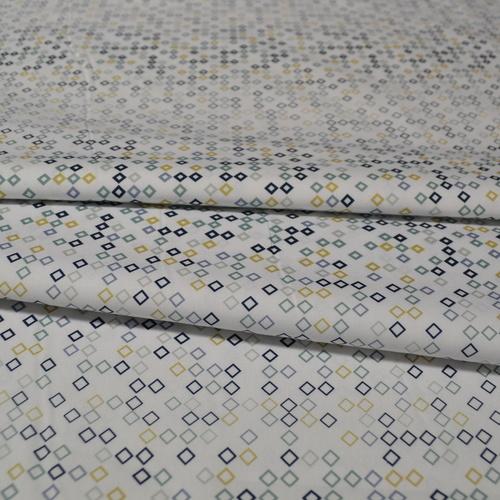 Tissu coton imprimé losanges bleu/vert Stenzo