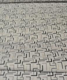 Tissu coton imprimé noir/beige/taupe Stenzo (0.9€/10cm)