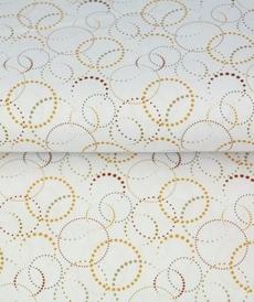 Tissu coton imprimé cercles ocre/brique Stenzo