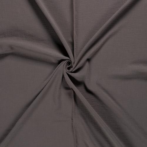 Double gaze de coton uni marron taupe (0.85€/10cm)