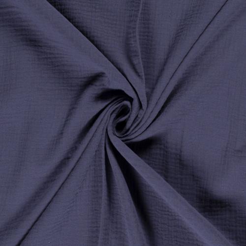 Double gaze de coton uni bleu acier (0.85€/10cm)