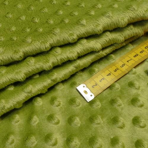 Minky à pois vert kiwi (0.99€/10cm)