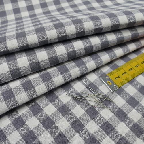 Coton vichy gris à petits coeurs (0.99€/10cm)