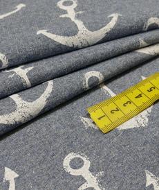 French terry bouclettes jeans chiné imprimé ancres (1.5€/10cm)