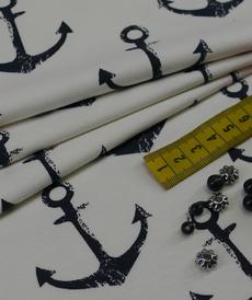 French terry bouclettes ivoire imprimé ancres (1.6€/10cm)