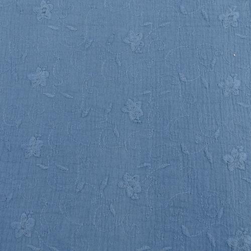 Double gaze brodée bleu indigo (1.2€/10cm)