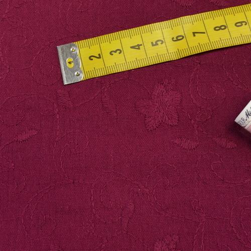 Double gaze brodée bordeaux (1.2€/10cm)