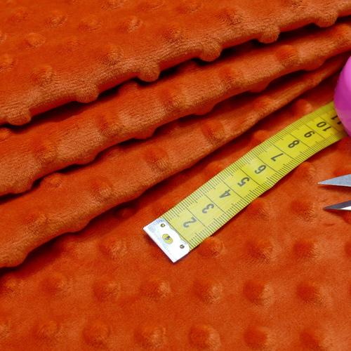 Minky à pois brique orangé ( 0.99€/10cm)
