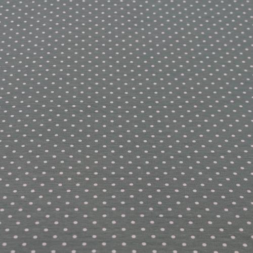 Jersey de coton à pois couleur vert ancien (1.15€/10cm)
