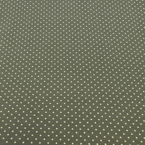 Jersey de coton à pois couleur kaki pois kiwi (1.15€/10cm)