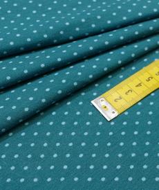 Jersey de coton à pois couleur pétrole pois bleu (1.15€/10cm)