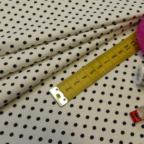 Jersey de coton à pois couleur blanc pois noirs (1.15€/10cm)