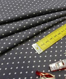 Jersey de coton à pois couleur anthracite pois gris clairs (1.15€/10cm)