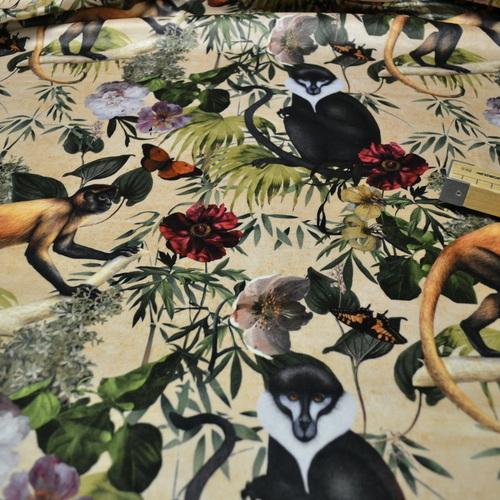 Tissu velours imprimé digital Nature beige (1.95€/10cm)