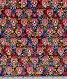 Tissu velours imprimé digital Têtes morts mexicaines fond noir