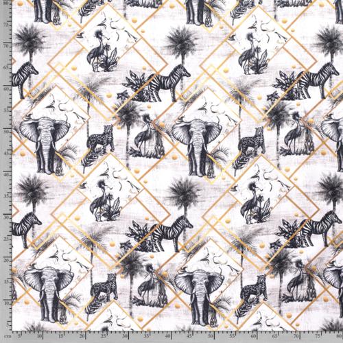 1 coupon de coton panama Safari imprimé digital 1.4m