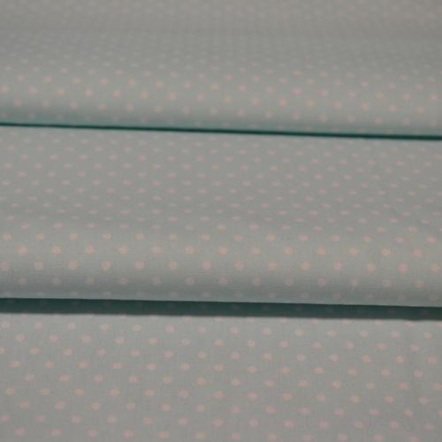 Coton popeline à pois menthe (0.75€/10cm)