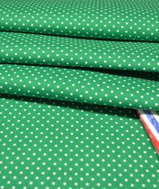 Coton popeline à pois vert