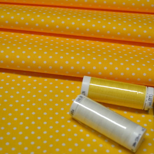 Coton popeline à pois jaune