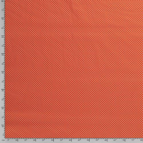 Coton popeline à pois orange