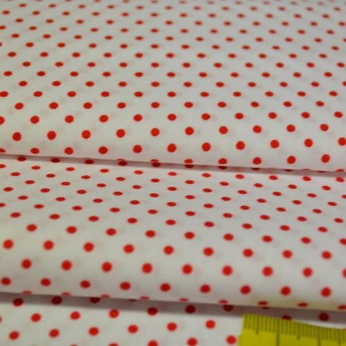 Coton popeline à pois rouge fond blanc (0.75€/10cm)