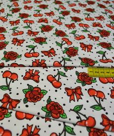 Jersey de coton imprimé digital cerises et rose Stenzo (1.39€/10cm)
