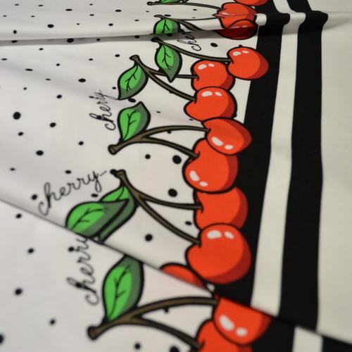 Jersey de coton imprimé digital à pois et bordures cerises Stenzo