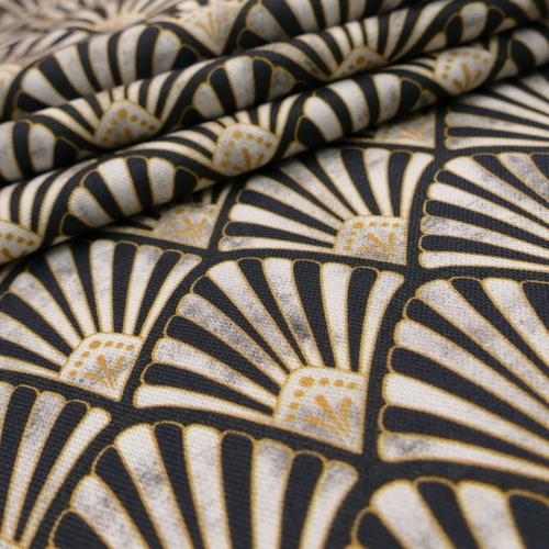 Coton panama abstrait zèbre beige noir