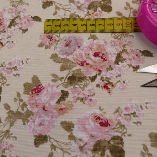 Tissu décoration Ottoman imprimé grandes fleurs fond rose