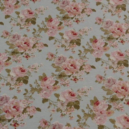 Tissu décoration Ottoman imprimé fleuri fond bleu ciel (0.9€/10cm)