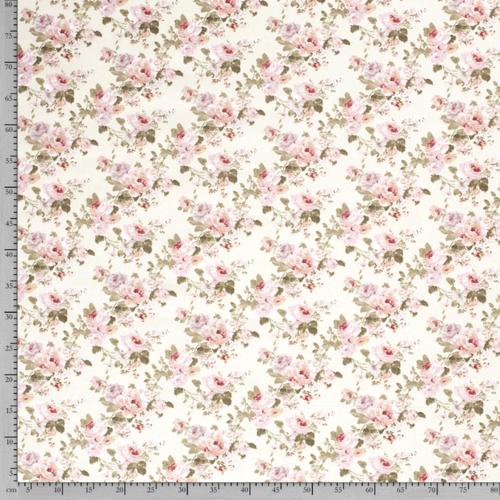Tissu décoration Ottoman imprimé fleuri fond blanc cassé
