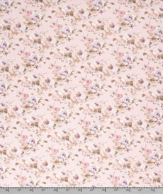 Tissu décoration Ottoman imprimé fleuri fond rose clair (0.9€/10cm)