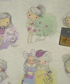 Tissu coton polyester imprimé petites filles