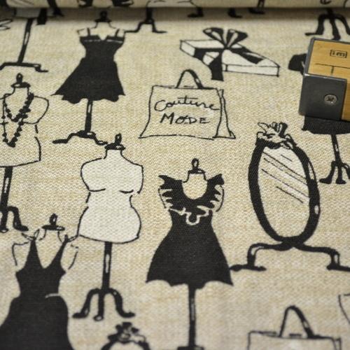 "Tissu coton polyester imprimé ""couture"" (0.9€/10cm)"