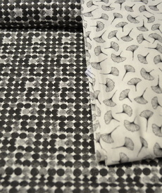 Tissu coton imprimé petits ronds noirs (0.9€/10cm)