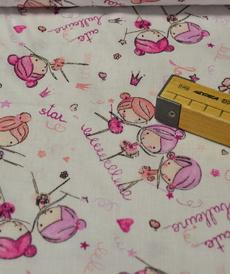 Tissu coton imprimé petites ballerines roses (0.9€/10cm)