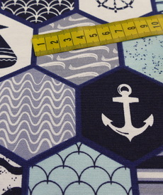 Tissu décoration Loneta formes blanc optique marin