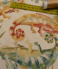 Coton panama Caméléons sur fond beige (1.65€/10cm)