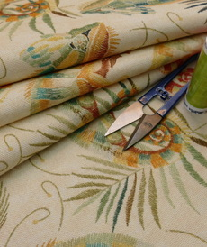 Coton panama Caméléons sur fond beige