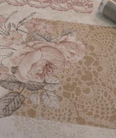 Coton canva enduit imprimé romantique Rose (1.7/10cm)