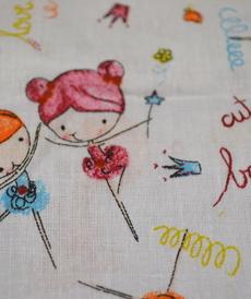 Tissu coton imprimé petites ballerines orange