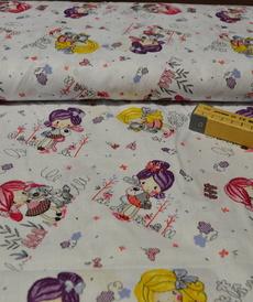 Tissu coton imprimé petites filles aux animaux