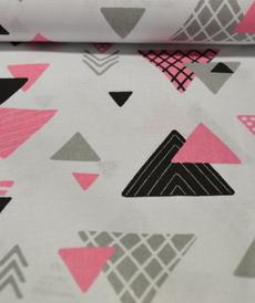 Tissu coton imprimé triangles roses/gris/noirs (0.9€/10cm)